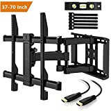 TV Wall Bracket Swivels Tilts Extends Rotates - TV Bracket Fits 37-70 Inch Flat Screen Plasma Curved TVs - Double Arm TV Mount Holds 60KG - For Concrete, Brick, Wood Stud Walls - VESA 200x100mm-600x400mm