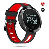 Fitness Trackers, Activity Tracker Pedometer Watch with Heart Rate Monitor and Blood Pressure Monitor, Touch Screen Smartwatch for Android and iOS Smartphone (DM58 red)