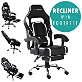 GTFORCE PACE RECLINING SPORTS RACING GAMING OFFICE DESK PC CAR FAUX LEATHER CHAIR (White)