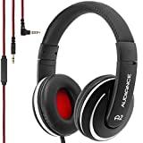 Audiance A2.0 Premium Over-Ear Stereo Headphones with Detachable Cable & 3.5mm Jack   Noise Isolating Wired Headset with Built-In Microphone for Hands Free Calls - Silver & Black