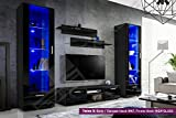 New Smart Living Room Furniture Set - High Gloss Fronts - Display Wall Unit - TV Floor Unit - Freestanding Cabinet (Twins 3/BBB)