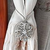 BTSKY One Pair Crystal Magnetic Curtain Clips Drapery Tiebacks Curtain Holdbacks Buckle Tie (Silver)