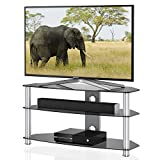FITUEYES 3 Tiers Glass TV Stand Hifi Rack Shelf for 37 to 60 inch LED,LCD TS312001GG