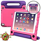 Apple iPad Air 2 case for kids, iPad Pro 9.7 case for kids [ANTI MICROBIAL IPAD KIDS CASE] PURE SENSE BUDDY Child Proof Shock Protective Cover for Girls | Shoulder Strap, Handle, Screen Protector,Pink