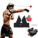 Boxing Reflex Ball - Speed Trainer Ball Headband + Premium Hand Wraps for Reflex Speed Training Boxing Punch Exercise Training to Improve Reactions and Speed,Boxing Gym Equipment for Both Training,Fitness ,MMA and Punching