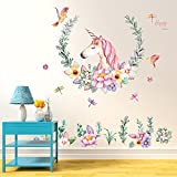 Flybuild Unicorn Flower Wall Sticker Removable Kids Girls Room Wall Decals Mural Art Nursery Home Decoration