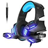 VersionTech PS4 Gaming Headset Over Ear Headphone with Mic and Lighting Effect for Xbox One PS4 Games(Blue)