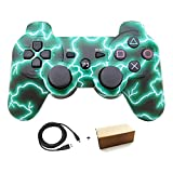 Bowink Wireless Bluetooth Controller For PS3 Double Shock (Green Lighning)