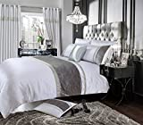 Home Bedding Store Single Bed Luxury Velvet Silver / Grey Diamante Duvet / Quilt Cover Bedding Set