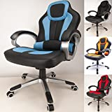 RayGar Blue Deluxe Padded Sports Racing Chair Gaming Executive Swivel Computer Desk Recliner Office Chair - New (Blue)