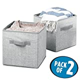 mDesign Storage Cube Boxes - Set of 2 - Fabric Storage Cubes for Organising Your Wardrobe - Large Fabric Storage Bins for Toys, Clothing or Bedding storage - 26.67 cm x 26.67 cm x 27.94 cm Each - Grey