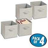 mDesign Chevron Fabric Wardrobe/Dresser Drawer Storage Organiser, Cube for Toys, Sweaters, Accessories - Pack of 4, Taupe/Natural