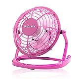 SAVFY 4' Portable Retro Mini Plastic USB Fan Silent Office / Home Light-Weight Desktop Fan Cooler For Laptop, NetBook, Computer and MacBook(Pink)