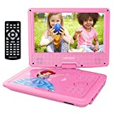 DBPOWER 9.5' Portable DVD Player, Swivel Screen , 4 Hours Rechargeable Battery, Supports SD Card and USB Port, Direct Play in Formats AVI/RMVB/MP3/JPEG (Pink)