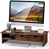 LITTLE TREE Computer Desk Monitor Riser, Desktop TV Screen Monitor Stand, LCD Monitor Mount with Storage Organizer Drawers (Bamboo)