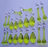 20 Lime Gold Green Chandelier Drops Transparent Chandelier Drops Parts Cut Glass Crystals Droplets Beads Christmas Tree Ornaments Vintage Chic Wedding Wishing Charm Decorations Garlands Prisms Antique Quality Art Deco Beads Assorted Bundle Mixed Set by Seear Lights