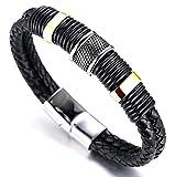 Halukakah 'SOLO' Men's Genuine Leather Titanium Bracelet Black & Golden 8.46'(21.5cm) with FREE GIftbox