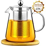 AckMond 900 ml Clear Glass Teapot with Stainless Steel Infuser & Lid, Borosilicate Glass Tea Pots, with Wooden Coaster
