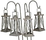 east2eden Set of 4 Cool Grey Tea Light Candle Holder Garden Lanterns Lantern with Shepherds Crooks