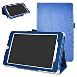 Alcatel OneTouch Pixi 3 Case,Mama Mouth PU Leather Folio 2-folding Stand Cover with Stylus Holder for 8' Alcatel OneTouch Pixi 3 8 3G Tablet PC,Blue