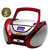 Lauson Cd-Player | Boombox Stereo | Portable Radio CD Player with USB | Usb & MP3 Player | Headphone Jack (3.5mm) | CP742 (Red)