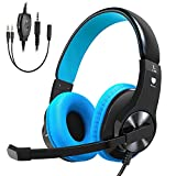 Vobon Gaming Headset for PS4 Xbox One, Lightweight Stereo Over Ear Headphones with Mic, Volume Control, Noise Cancelling, Adjustable Headband, 3.5mm Jack for Smart phones Laptop PC Mac