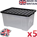 CrazyGadget50L 50 Litre Large Big Plastic Storage Clear Box Strong Stackable Container - Made In U.K. - Pack of 5