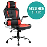 GTFORCE BLAZE RECLINING LEATHER SPORTS RACING OFFICE DESK CHAIR GAMING COMPUTER (Red)
