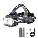 Waterproof Rechargeable LED Head Torches, HFAN Super Bright 6000 Lumen 3 Modes Zoomable Waterproof Rechargeable LED Headlamp with 18650 Rechargeable Batteries, USB Cable for Cycling, Running, Dog Walking, Camping, Hiking, Fishing, Night Reading and DIY Works