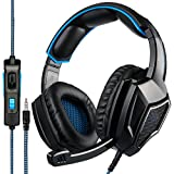 SADES SA920 Pro Surround Sound Stereo PC Gaming Headset Headphones with Microphone for PS4 Xbox one PC Mac iPhone Smart phone(Blue)