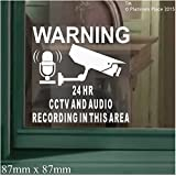 6 x CCTV Camera & AUDIO Recording Area-87mm-Video In Operation-Security Warning Stickers-Self Adhesive Vinyl Signs