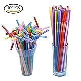100 Pcs Plastic Straws, Ruix Disposable Flexible Drinking Straws Multicolor Straws For Party Bar Kids