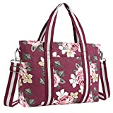 MOSISO Laptop Tote Bag (Up to 17.3 Inch), Canvas Classic Rose Multifunctional Work Travel Shopping Duffel Carrying Shoulder Handbag for Notebook, MacBook, Ultrabook and Chromebook Computers, Wine Red