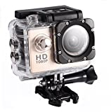 Mini Action Camera, 7 Colors Full HD 2.0 Inch Action Camera 1080P DV Sports Camera Action Cam Underwater 30m/98ft Waterproof Camera and Mounting Accessories Kit for Diving/Bicycle/Climbing/Swimming et(Gold)