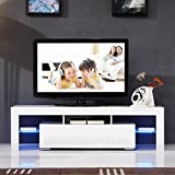 UEnjoy Modern 160cm White TV Units Cabinet, High Gloss TV Stand with LED Light and 2 Drawers Console Living Room Furniture