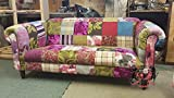 3 Seat Multi Coloured Patchwork Chesterfield Sofa