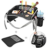 Travel Tray, EocuSun Kids Snack Play Trays with Mesh Pockets and Cup Holders as Portable Seat Cushion Shoulder Bag Journeys Drawing Board for Childrens Stroller Pushchair Car Safety Seat(Black)