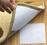 Rug Anchors Carpet Hook and Loop Non-slip Mat Anti-skid Stickers Square (10PCS, White)