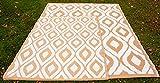 Samti Outdoor Patio Rug Bohemian Moroccan Themed Authentic Indian Garden Carpet - Beige (1.8m x 2.5m)