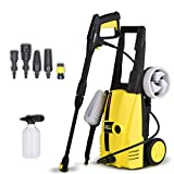 Wilks USA RX510 Electric Pressure Washer - High 135 Bar - Includes 5 Nozzles/Adaptors Plus Scrub and Rotary Driven Brushes
