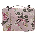 MOSISO Canvas Rose Pattern Multifunctional Laptop Shoulder Messenger Bag Case Sleeve for 14-15.6 Inch 2017/2016 New MacBook Pro with Touch Bar (A1707), MacBook Pro, Notebook Computer, Pink