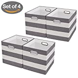 Storage Bins,Cube Organizer Baskets,Fabric Drawers Containers Boxes for Office,Closet, Toys, Laundry,Striped Pattern (Set of 4, Grey/beige)
