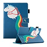 Dteck Universal 7.5-8.5 inch Tablet Case, Multi-Angle Stand Flip Wallet Case with Cards/Money Slots Magnetic Buckle Cover for All 7.5-8.5 inch Tablet (iPad Mini 1/2/3/4,Samsung Galaxy Tab A 8.0 / Tab 4 8.0/ Tab S2 8.0, Fire HD 8 2016 & 2017, Fire HD 8 2015, Lenovo Tab 4 8 Plus(8704F), Huawei MediaPad M2 8.0and More 7.5'-8.5' Tablet), Rainbow Unicorn