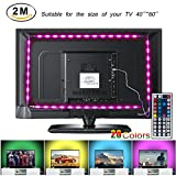 LED TV Backlight Strip Lights, 2M USB Powered RGB Multi Color Bias Lighting Kit with Remote Control for 40 To 60 Inch HDTV, Desktop PC