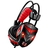 Gaming Headset for PC Gaming, POSUGEAR 3.5mm Stereo Gaming LED Lighting Over-Ear Headphone Headset Headband with Mic for PC Computer Game with Noise Cancelling & Volume Control