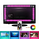 LED TV Backlight Bias Lighting Kits for HDTV, EveShine 78.7in/2 m/4 Strips Multi-color RGB TV LED Backlight [UPGRADED 2018 VERSION] with remote control for 40 To 60 Inch HDTV - Reduce Eye Fatigue and Increase Image Clarity
