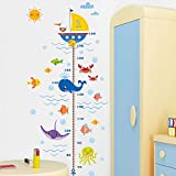 Zooarts Submarine Undersea World Height Chart Measurement Mural Wall Sticker Decal for Kid Child Room Decor