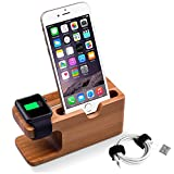 Apple Watch Stand, Elekin iWatch Bamboo Wood Stand Charging Station Bracket Docking Station Stock Cradle Holder Both 38mm & 42mm for Apple Watch and iPhone 6s Plus / 6s / 6 Plus / 6 / 5s / 5c / 5