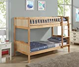 Unmatchable Children's Pine Bunk Bed Frame Single 3FT with Full Panel Headboard (Natural)