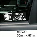 5 x Small In Car Camera Recording Stickers-See Colour Availability-Orange,Red or White Printed-CCTV Sign-Van,Lorry,Truck,Taxi,Bus,Mini Cab,Minicab-Security-Window,External,Tinted-Go Pro,Dashcam (White on Clear - Window Version)